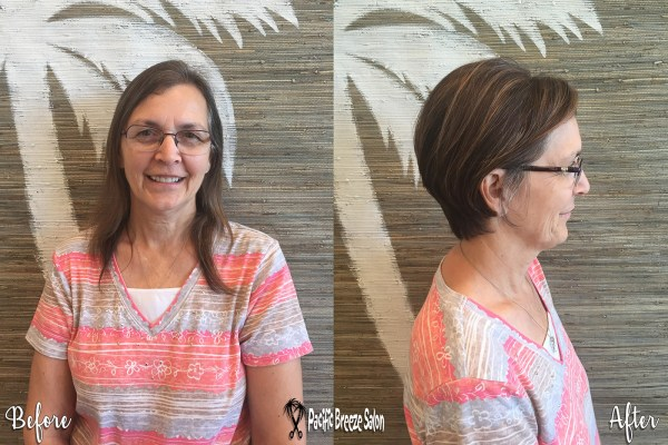 This client moved out of state but came back to Pacific Breeze Salon for a makeover! We love her new short 'do ? Great work, Mary Dennis!