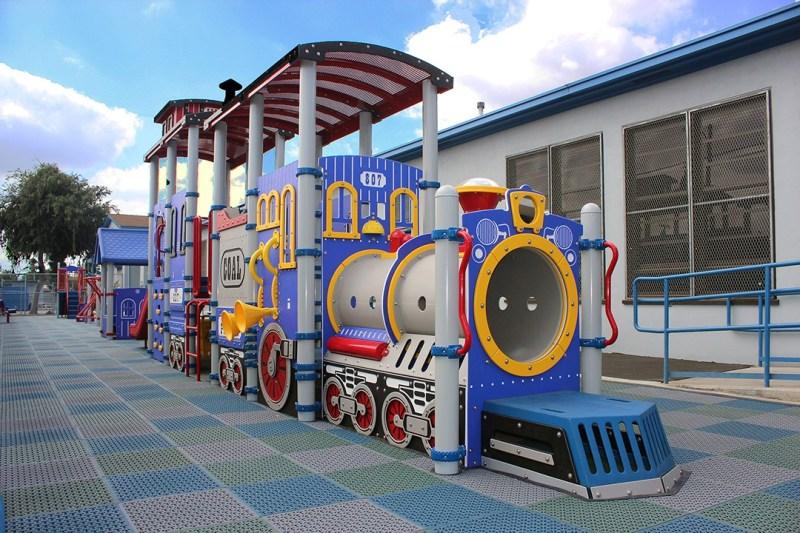 train themed playground equipment