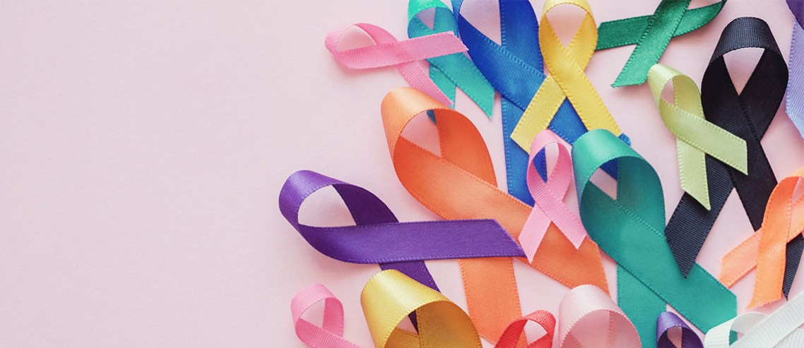 Ribbons represent different types of cancers