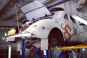 car 38 being fixes in Kiev