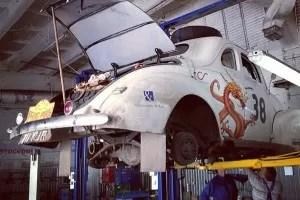 car 38 being fixes in Kiev