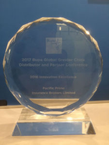 The Bupa award for innovative excelence awarded to Pacific Prime
