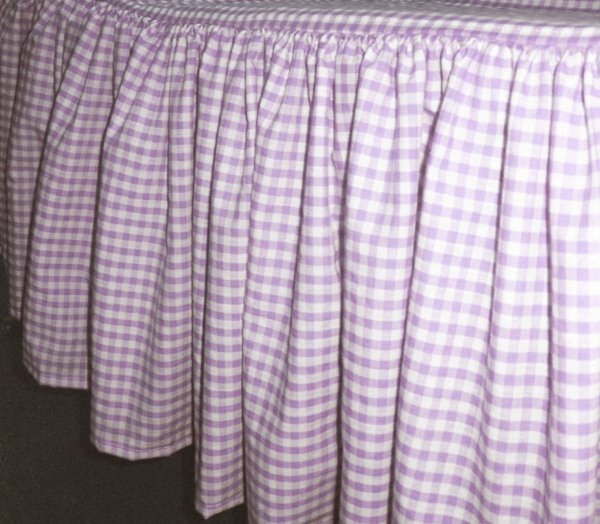 Light Purple Gingham Check Bedskirt In All Sizes From Twin To Cal King Including Crib And