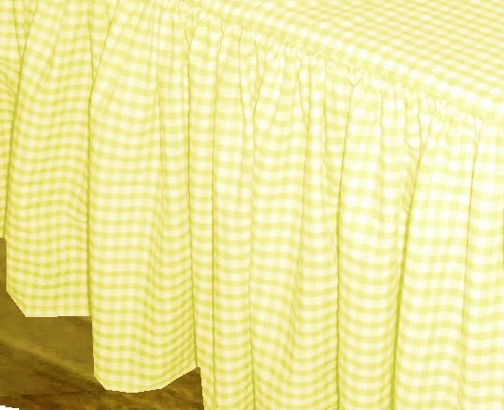 Yellow Gingham Check Bedskirt In All Sizes From Twin To