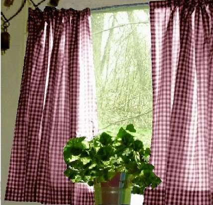 Burgundy Wine Gingham KitchenCaf Curtain Unlined Or With White Or Blackout Lining In Many