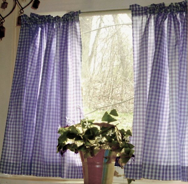Purple Gingham KitchenCaf Curtain Unlined Or With White