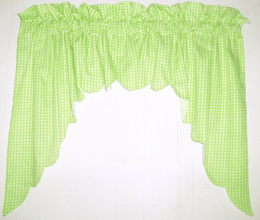 Lime Green Scalloped Window Swag Valance With White Lining Optional Center Piece Available
