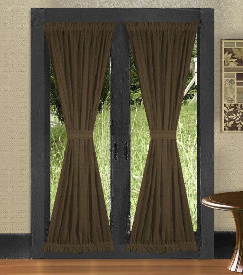 solid brown colored french door curtain available in many lengths