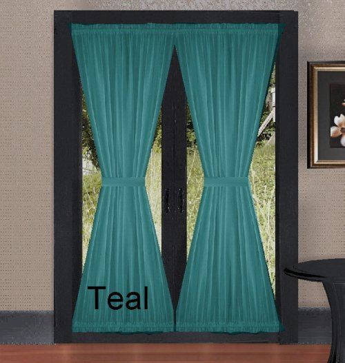 Solid Teal Colored French Door Curtain Available In Many Lengths