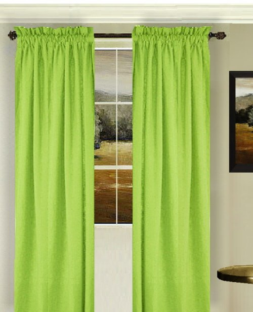 ds0125limegreen solid lime green colored window long curtain