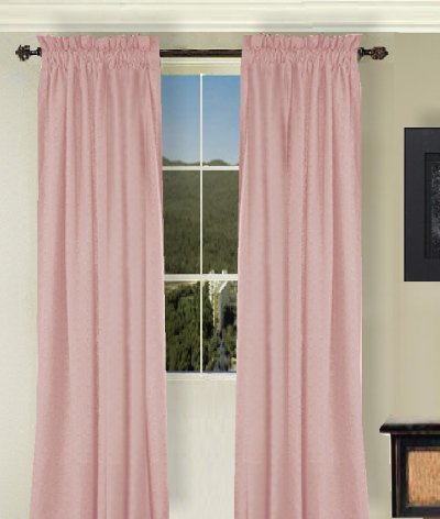 Solid Pink Colored Window Long Curtain Available In Many Lengths And 3 Rod Pocket Sizes
