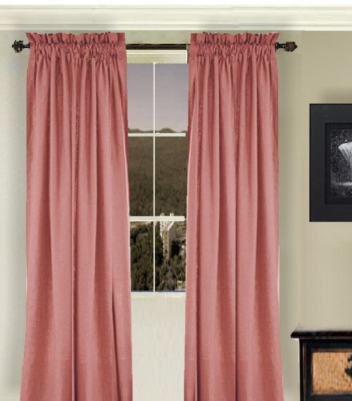 Solid Rose Colored Window Long Curtain Available In Many Lengths And 3 Rod Pocket Sizes