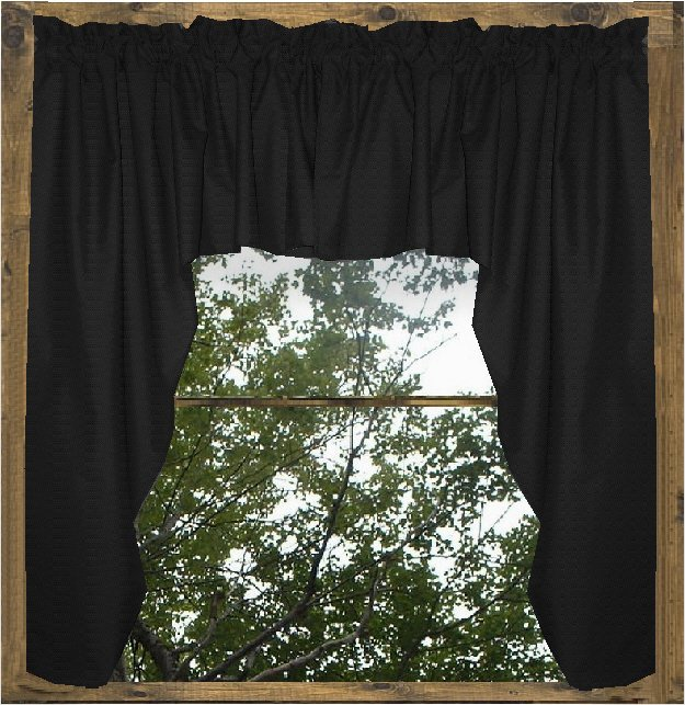 Solid Black Colored Swag Window Valance Optional Center Piece Available