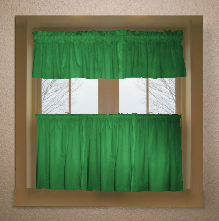 Solid Kelley Green Colored Caf Style Curtain Includes 2 Valances And 2 Kitchen Curtain Panels