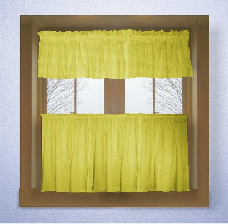 Lemon Bright Yellow Color Tier Kitchen Curtain Two Panel Set