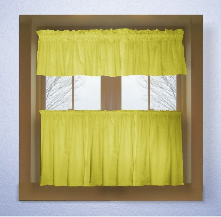 Home Curtains Solid Bright Lemon Yellow Colored Kitchen Curtain