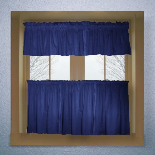 cafe2trroyalblue solid royal blue colored cafe style curtain