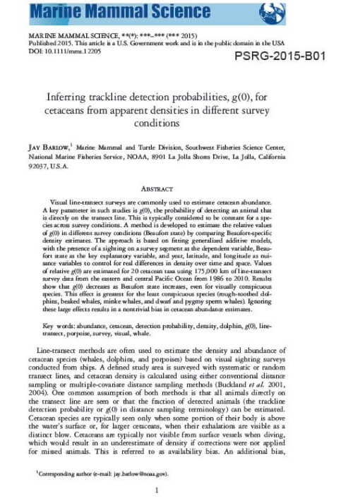Inferring trackline detection probabilities, g(0), for cetaceans from apparent densities in different survey conditions