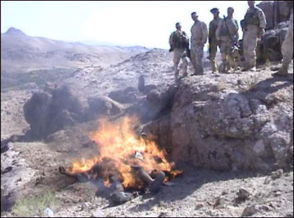 US troops burning dead bodies in Afghanistan