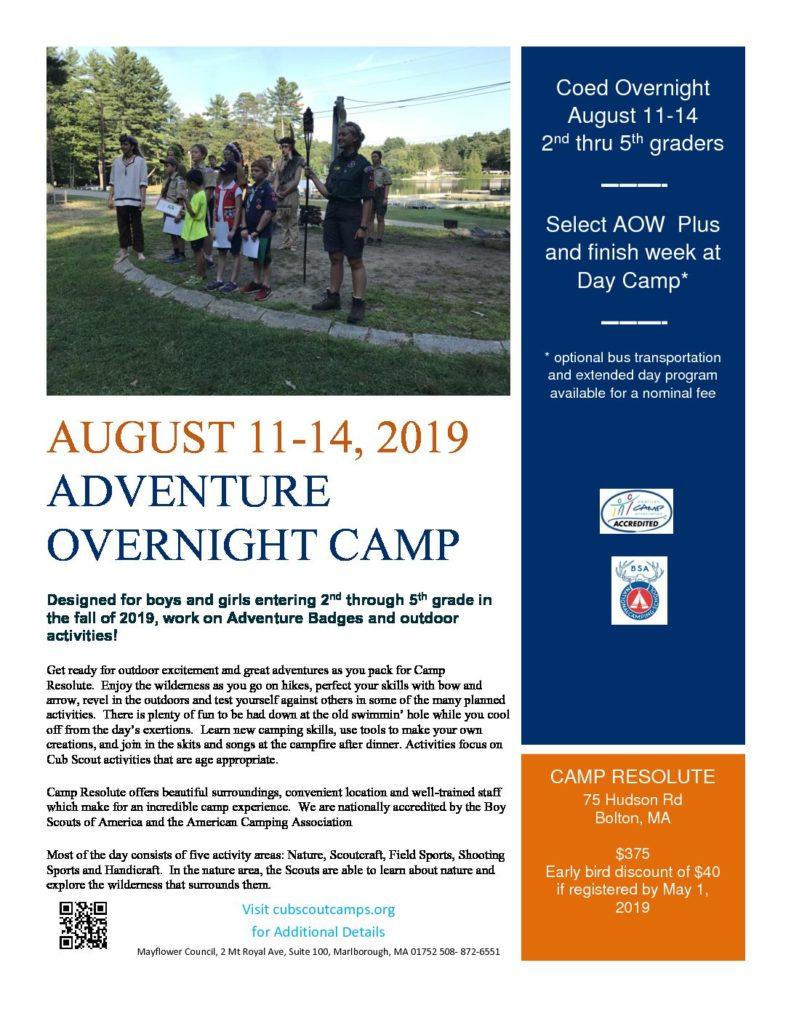 2019 Coed Overnight August 11-14  