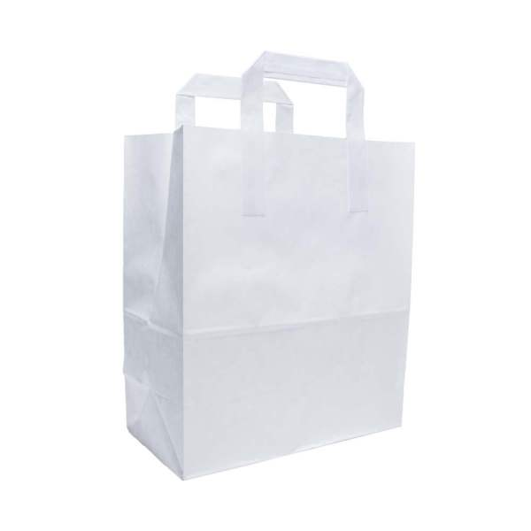 White Paper Bag With Handles - Large | Packaging Environmental