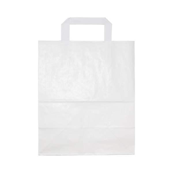 White Paper Bag w/ Handles - Medium | Packaging Environmental