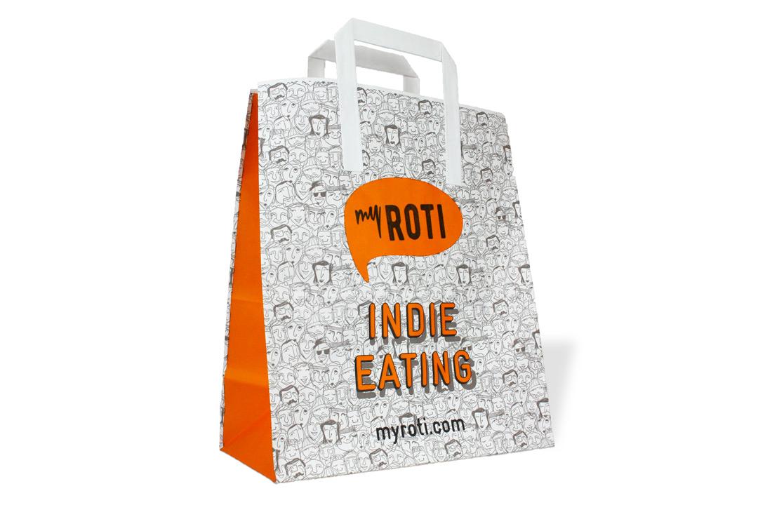 bespoke custom printed food takeaway bags flat handle paper