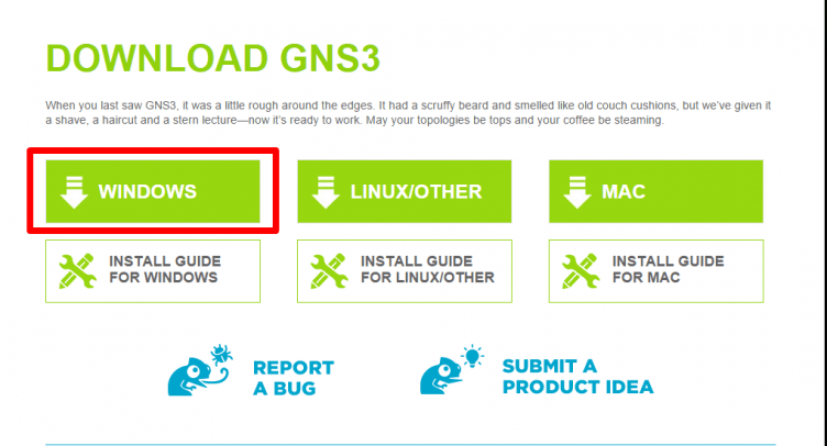 Download GNS3 for Windows