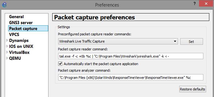 Wireshark for packet capture