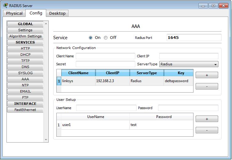 Packet Tracer 5.3 - Radius server configuration