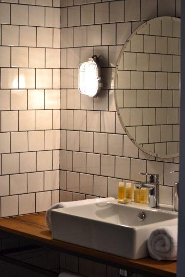 Bathrooom Sink Close Up - Fabrika Hostel Tbilisi   Packs Light
