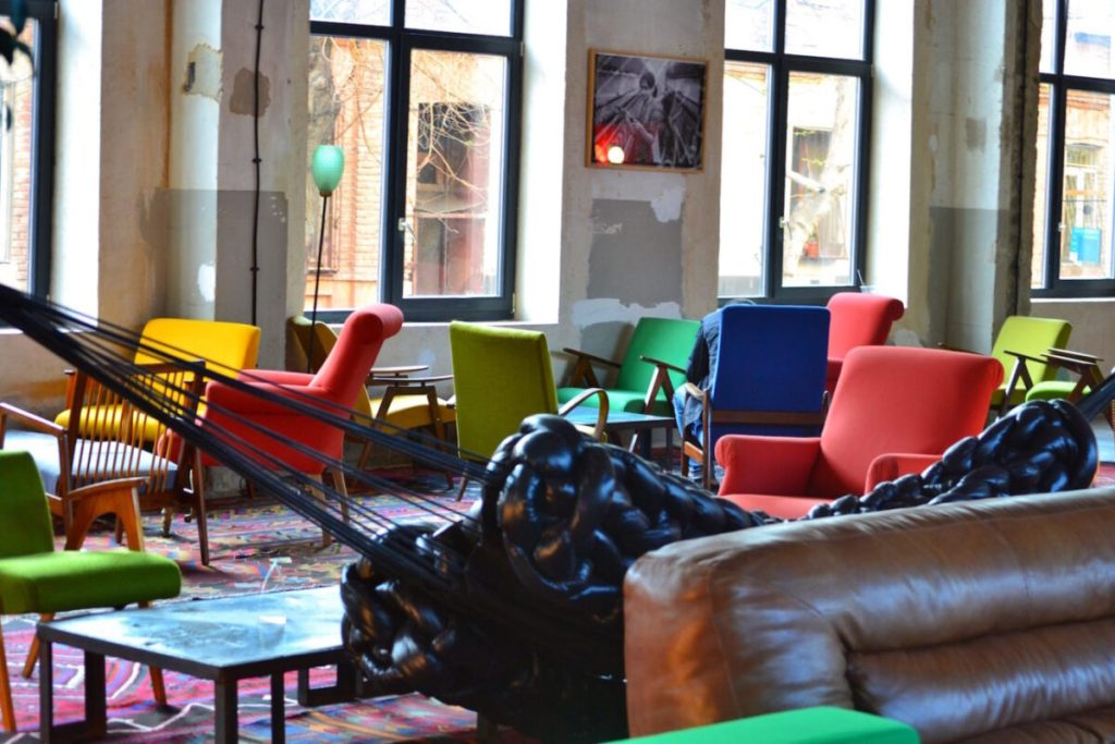 Indoors Community Space Seating- Fabrika Hostel Tbilisi | Packs Light