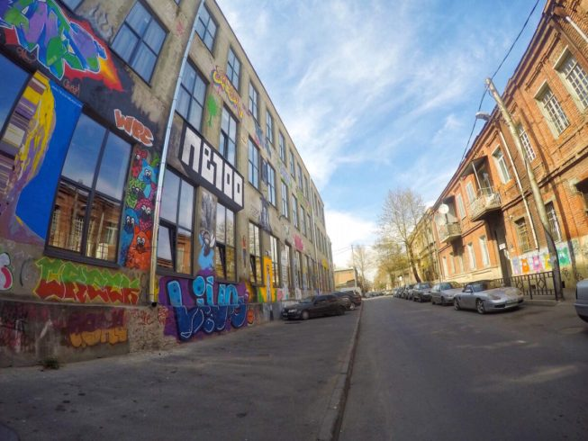Outside Graffitti - Fabrika Hostel Tbilisi   Packs Light