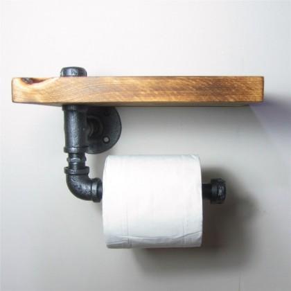 urbain industriel mural en bois etagere de rangement de fer tuyau porte papier toilette rouleau restaurant toilettes salle d