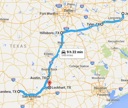 Texas Road Trip Route