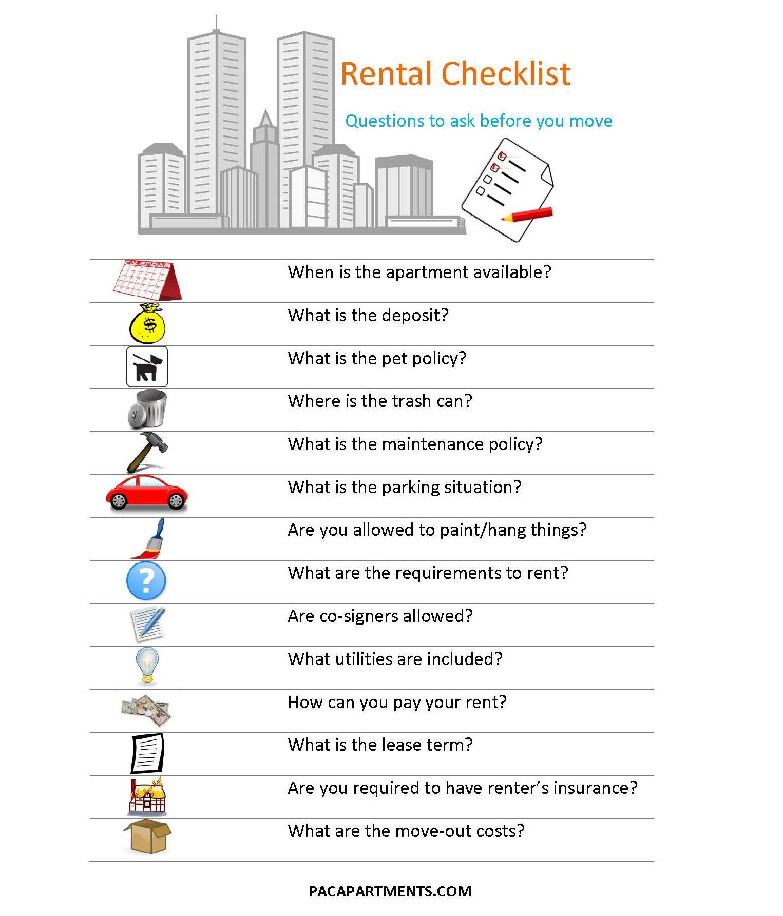 Apartment Hunting Checklist: PACliving -PACliving