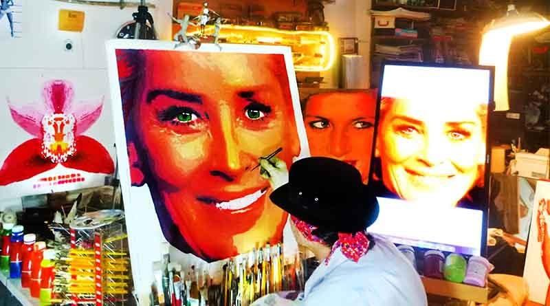 Sharon Stone, a premiada atriz de Hollywood, ganhou uma tela de artista londrinense