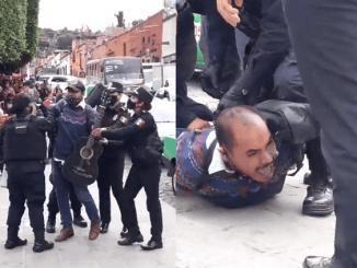 Entre gritos de auxilio, policías en Guanajuato someten a músico callejero #VIDEO