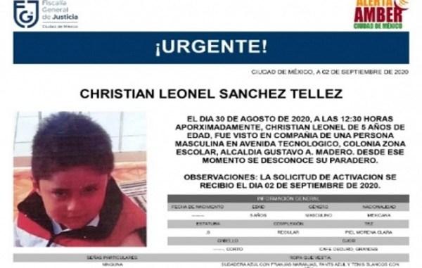 #AlertaAmber Cristian Leonel desapareció en la GAM