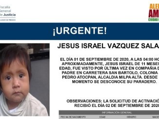 #AlertaAmber Jesús tiene 11 meses y desapareció en la alcaldía Milpa Alta