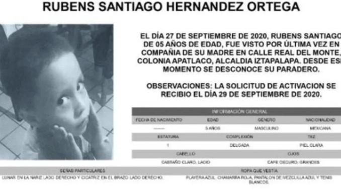 Buscan a Rubens Santiago Hernández Ortega, activan #AlertaAmber