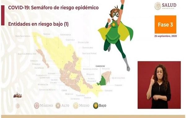 Campeche se convierte en el primer estado en llegar a color verde