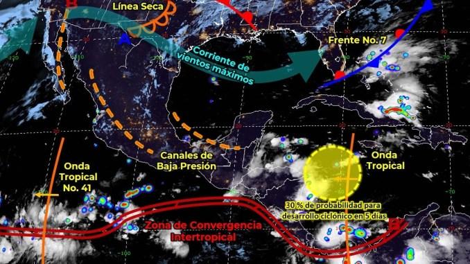 El frente frío 7 se disipará sobre el oriente del Golfo de México y provocará lluvias