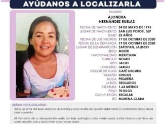 Alondra Hernández mide 1.64, es de tez morena clara y al momento de desaparecer portaba su uniforme quirúrgico de color verde