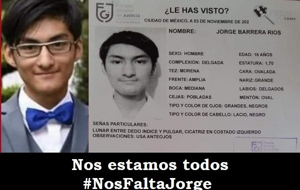 Con el hashtag #NosFaltaJorge buscan a estudiante de la UNAM desaparecido