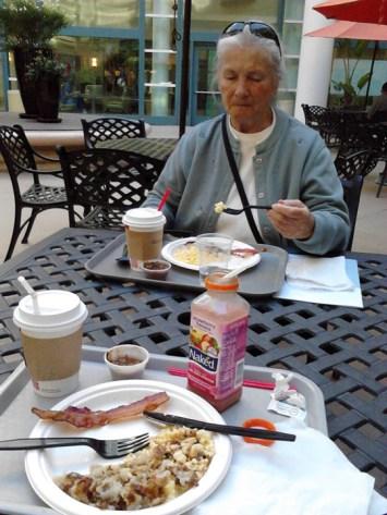 Enjoying breakfast