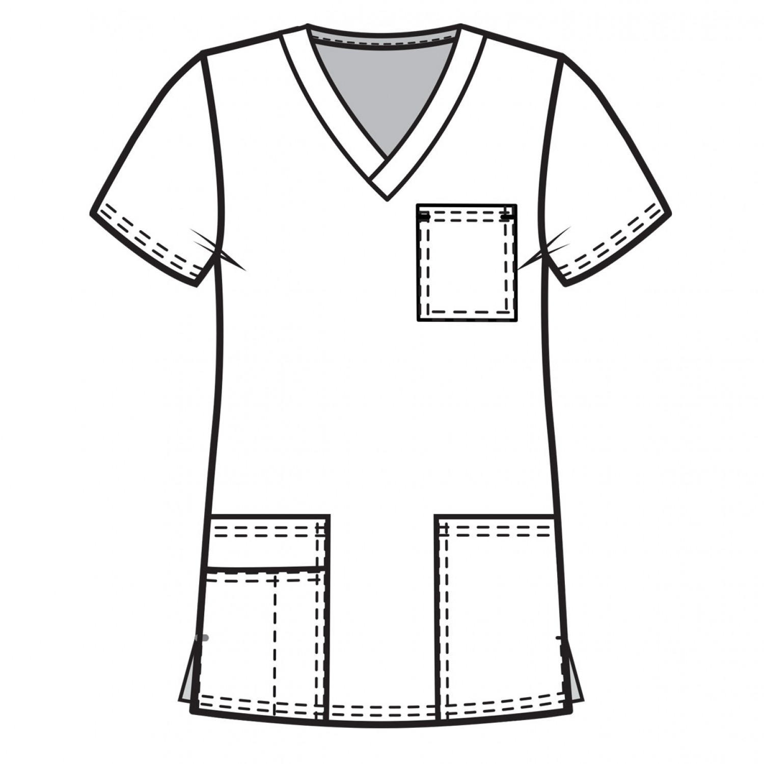 Medgear Womens Fashion Scrubs Top Printed V Neck With 4