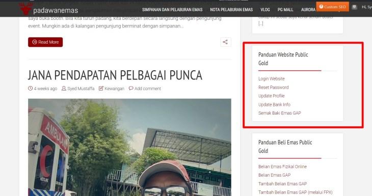 panduan laman web public gold