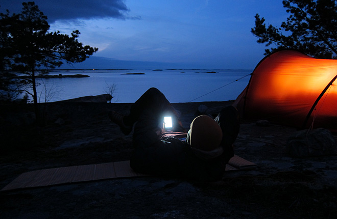 Kvällssurf på Gavleholmen i norra Misterhult