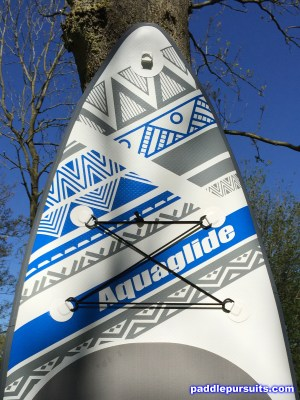Aquaglide Cascade 11' inflatable standup paddleboard - many D-rings and bungee for storage and accessories